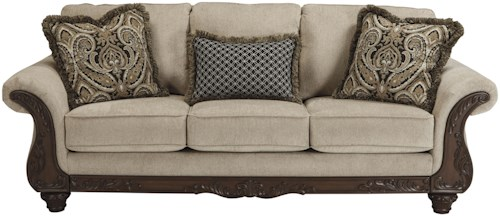 Benchcraft Laytonsville Traditional Sofa with Ornate Rolled Arms