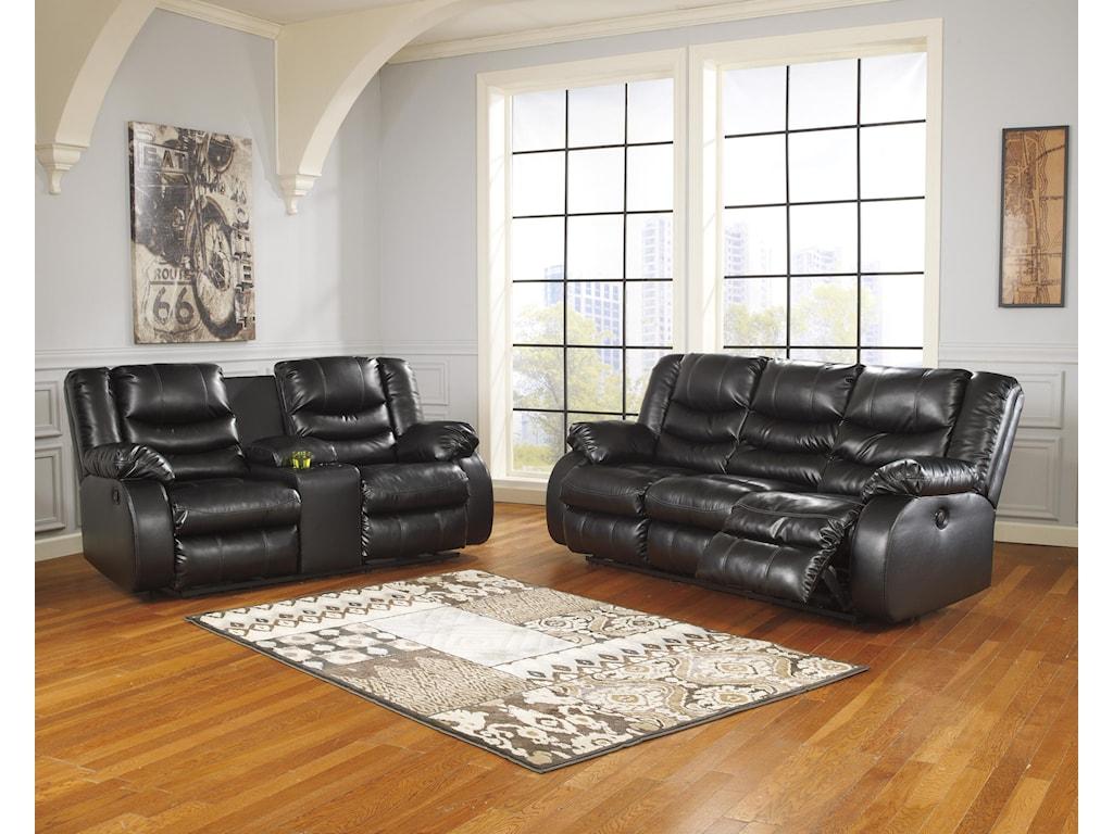 Benchcraft Linebacker DuraBlend - BlackReclining Living Room Group