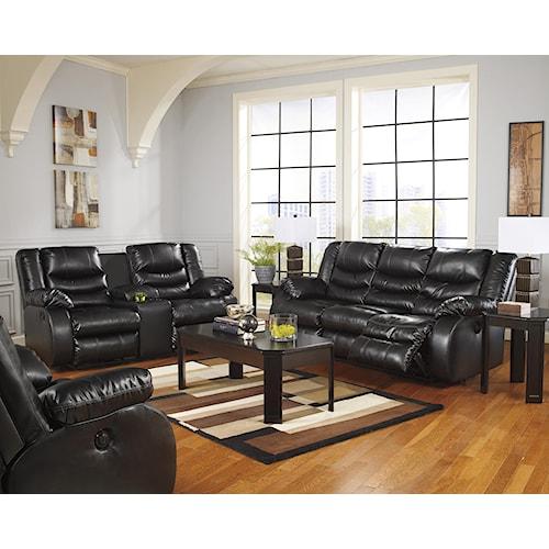 Benchcraft Linebacker DuraBlend - Black Reclining Living Room Group