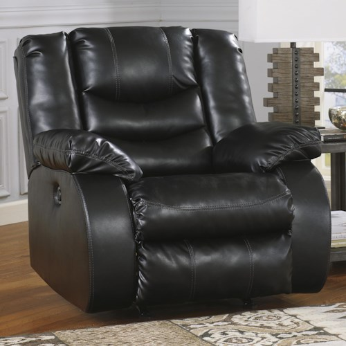 Benchcraft Linebacker DuraBlend - Black Contemporary Rocker Recliner with Pillow Arms