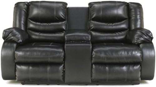 Benchcraft Linebacker DuraBlend - Black Contemporary Double Reclining Loveseat with Console