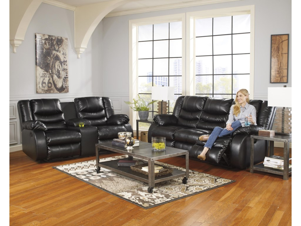Signature Design By Ashley Linebacker DuraBlend - BlackDBL Rec Loveseat w/Console