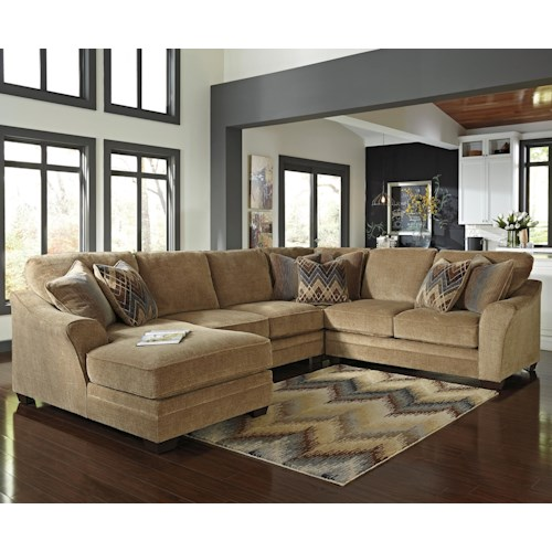 Benchcraft Lonsdale Contemporary 4-Piece Sectional with Left Chaise