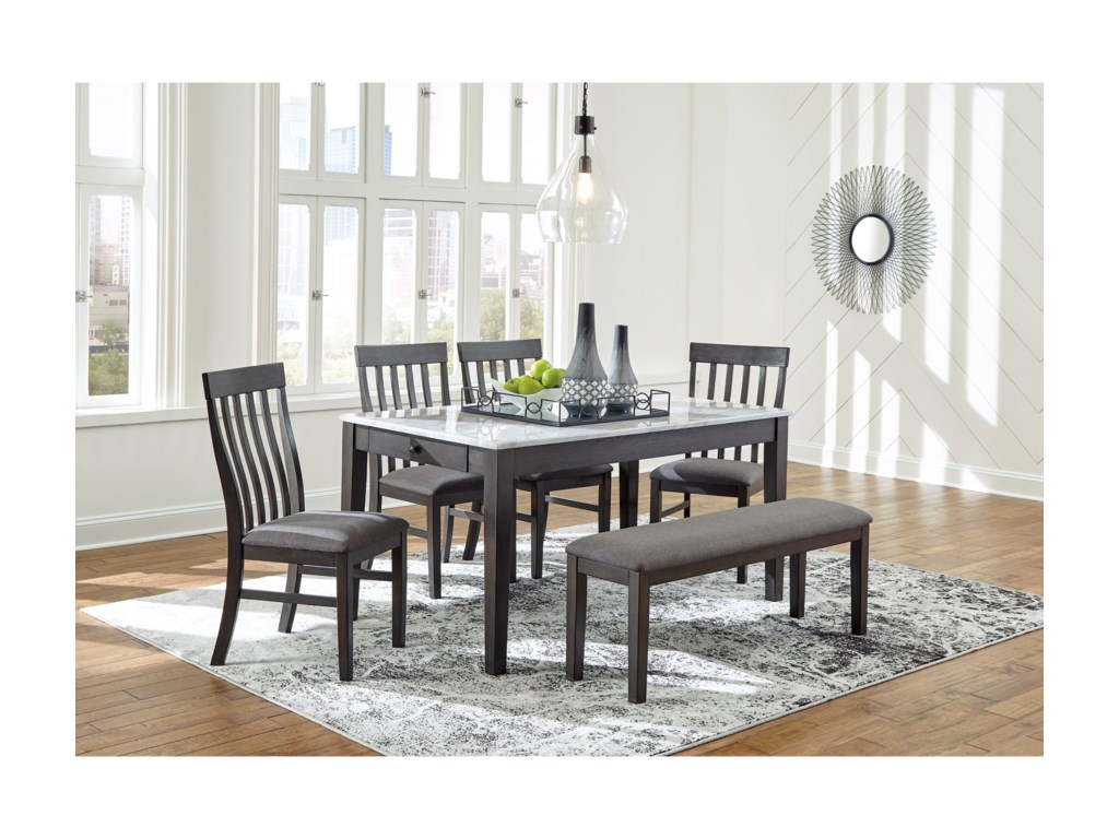Benchcraft Luvoni6-Piece Dining Set with Bench
