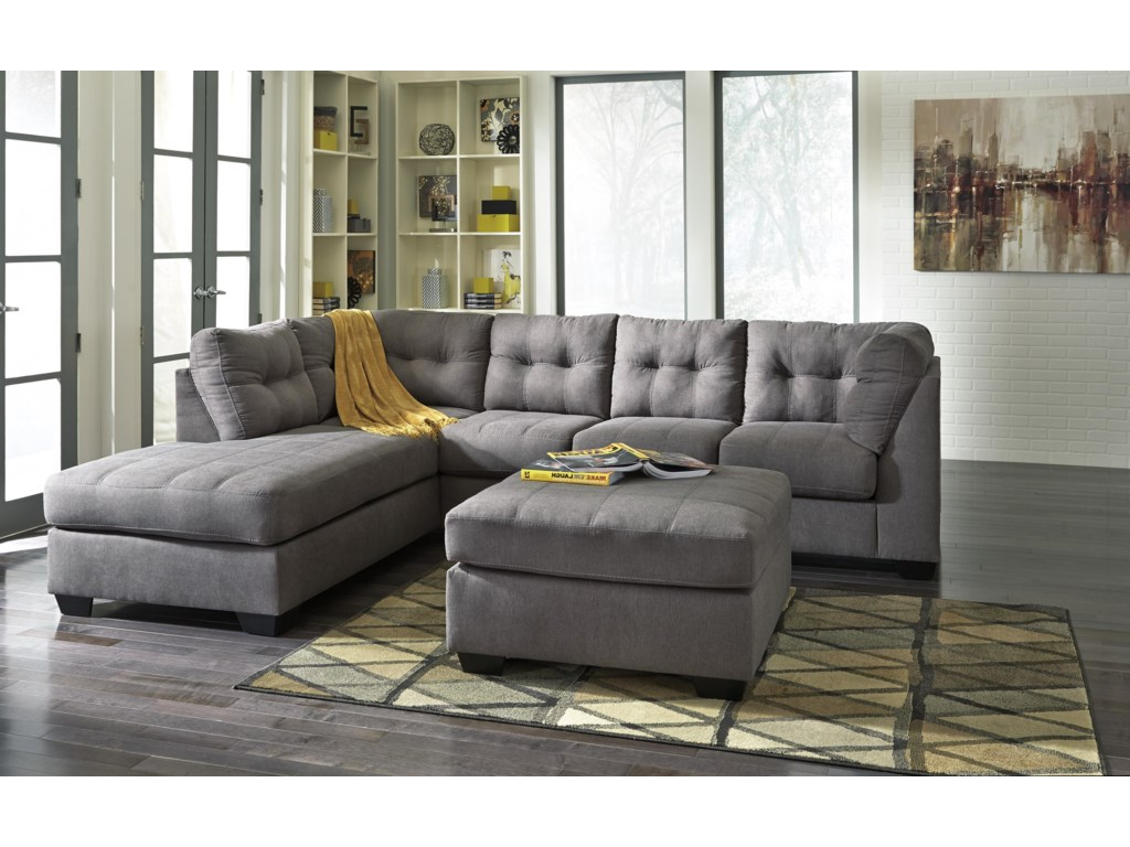 Maier Charcoal 2 Pc Sleeper Sectional And Ottoman Set