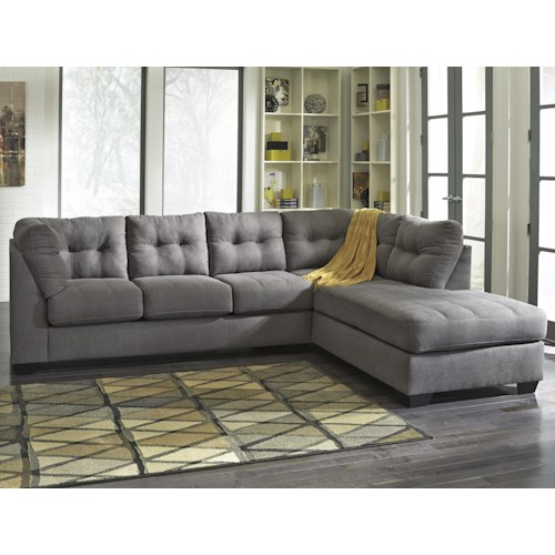 Benchcraft Maier Charcoal Piece Sectional W Sleeper Sofa - Convertible sofa bed sectional