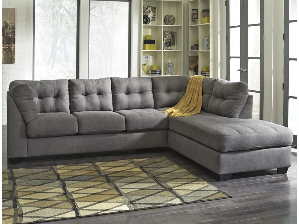 Benchcraft Maier Charcoal2 Piece Sectional W Sleeper Sofa Chaise
