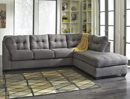 Benchcraft Maier - Charcoal 2-Piece Sectional w/ Sleeper Sofa & Right Chaise