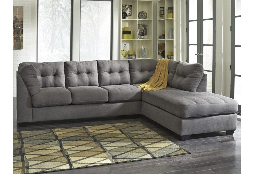 Admirable Maier Charcoal 2 Piece Sectional W Sleeper Sofa Chaise Ncnpc Chair Design For Home Ncnpcorg