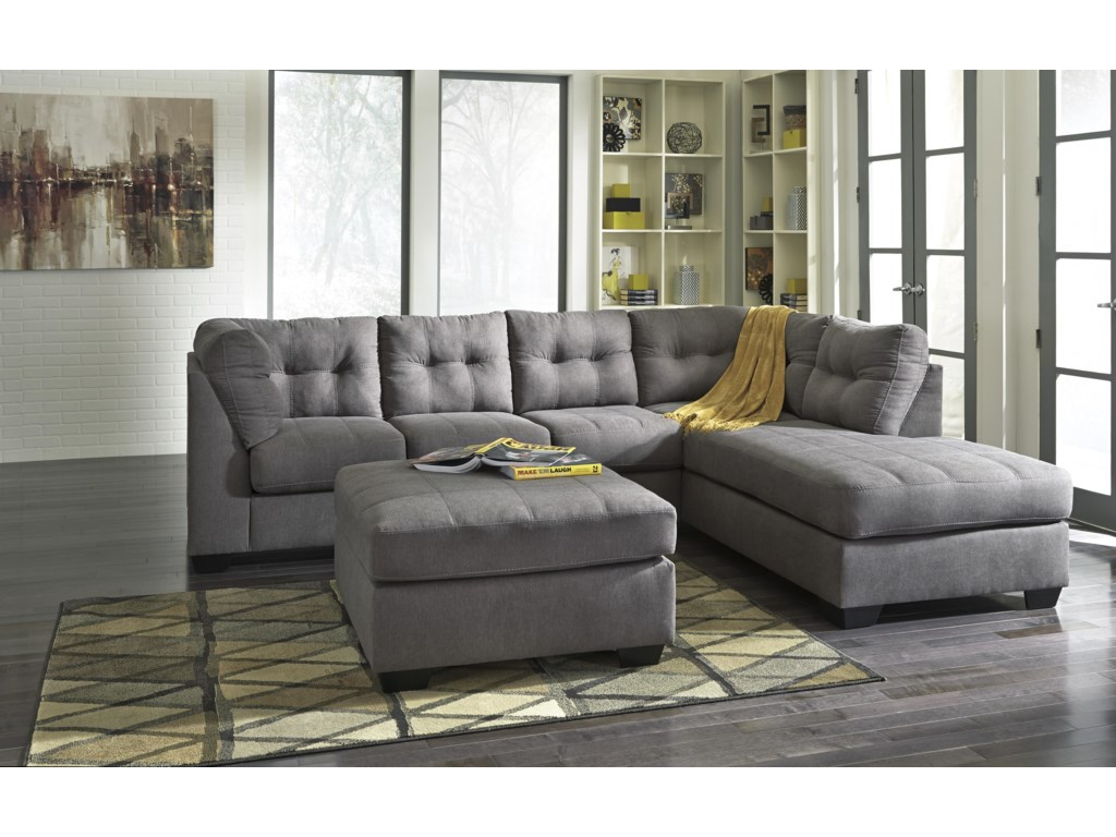 Benchcraft Maier - Charcoal2-Piece Sectional w/ Sleeper Sofa & Chaise