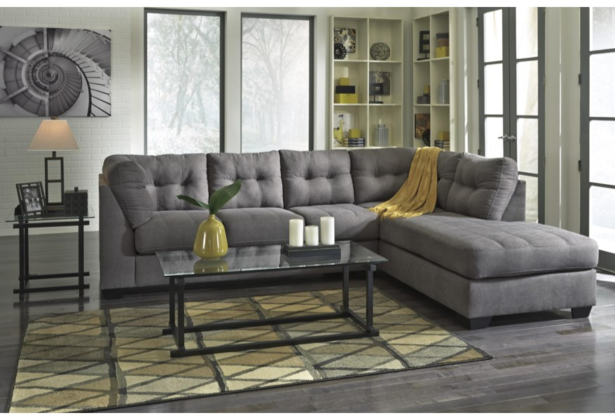 Wondrous Maier Charcoal 2 Piece Sectional W Sleeper Sofa Chaise Ibusinesslaw Wood Chair Design Ideas Ibusinesslaworg
