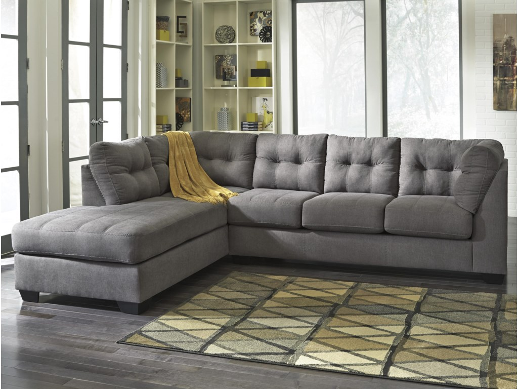 Benchcraft by Ashley Maier - Charcoal 2-Piece Sectional with Left ...