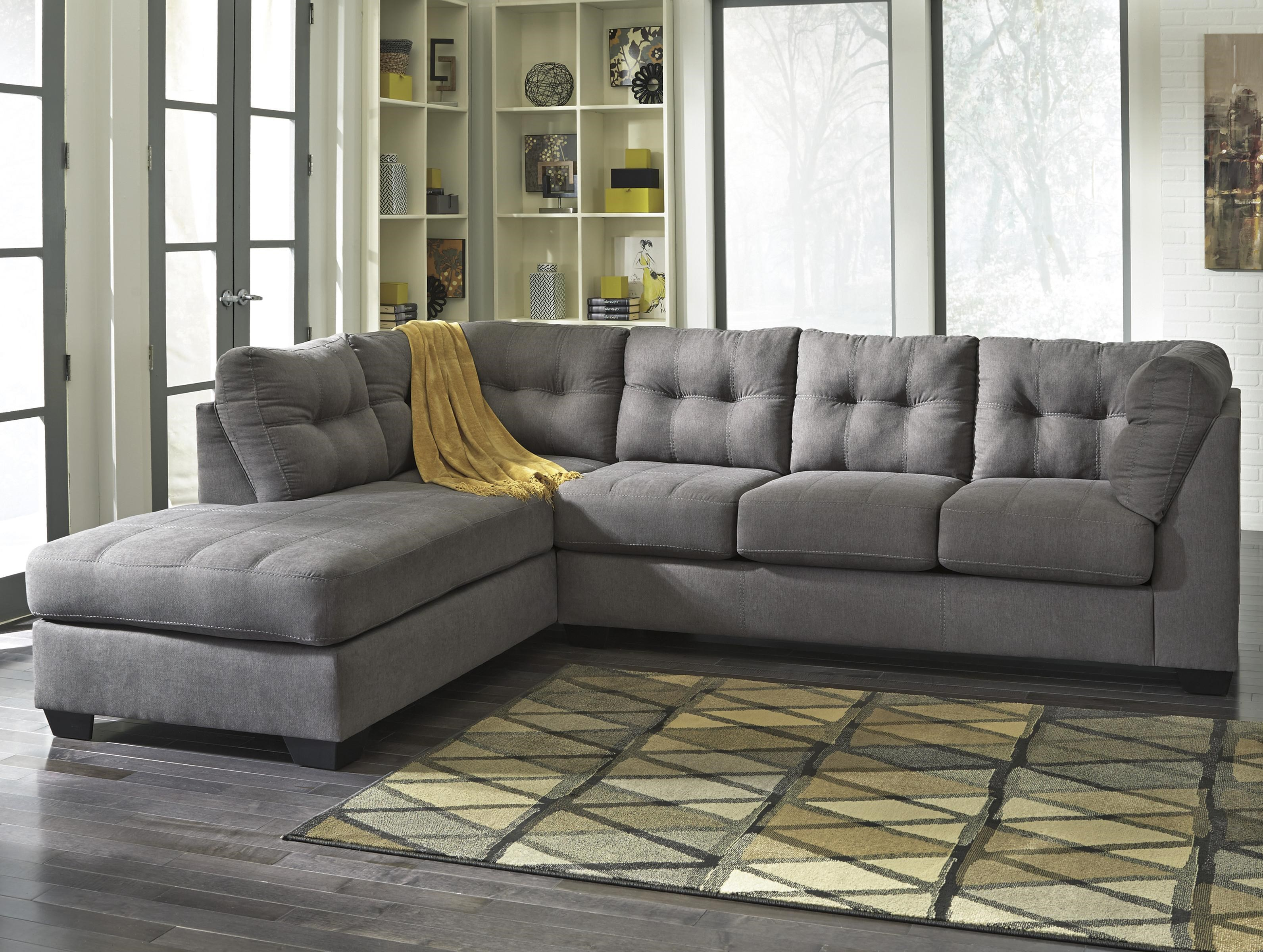 - Benchcraft Maier - Charcoal 2-Piece Sectional W/ Sleeper Sofa