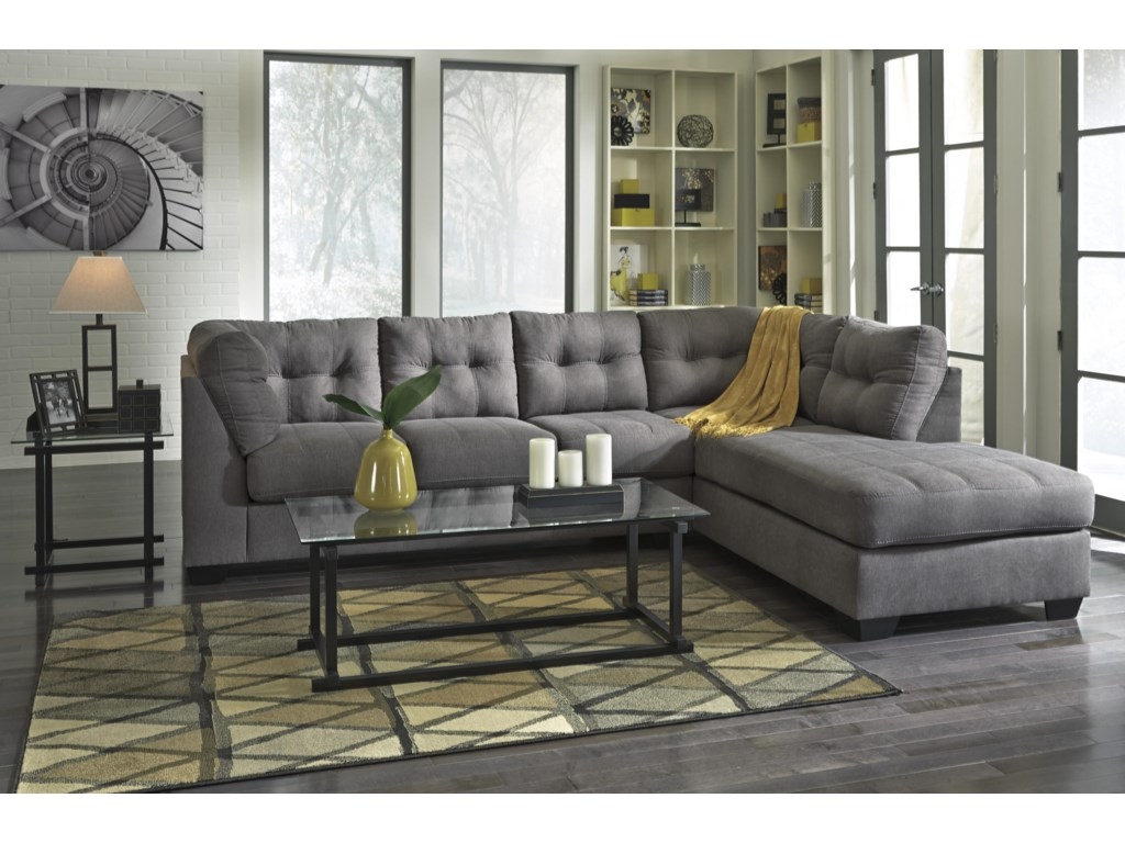 Benchcraft Maier - Charcoal2-Piece Sectional with Right Chaise