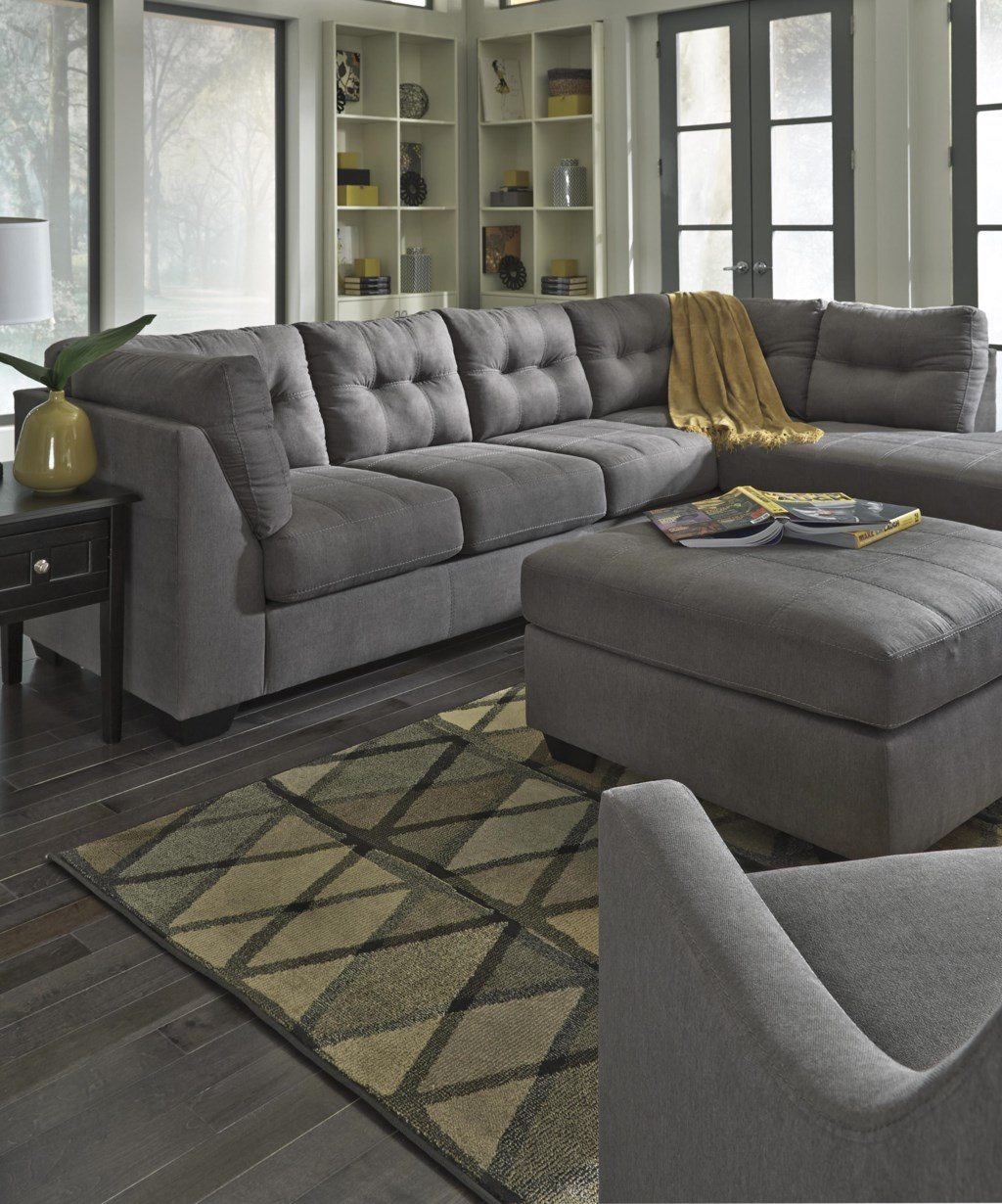 Benchcraft by Ashley Maier Charcoal 2 Piece Sectional with Right