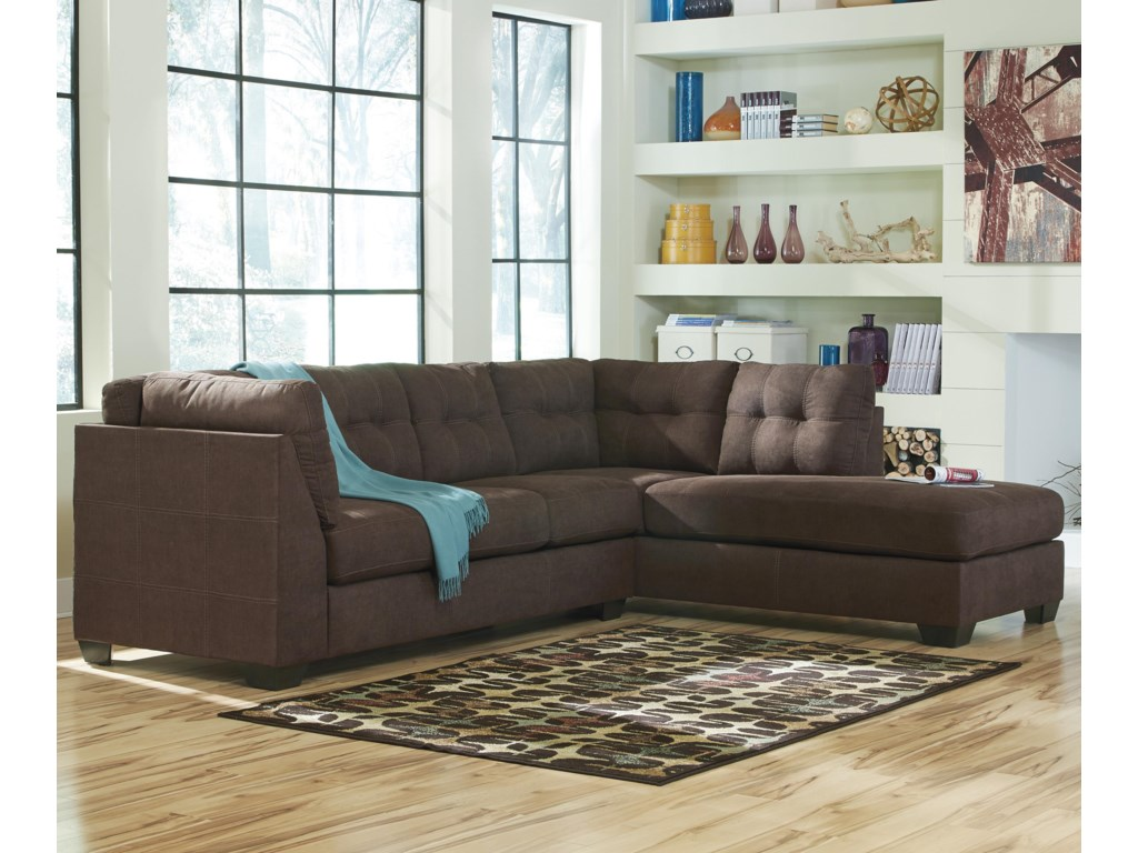 Benchcraft Maier - Walnut2-Piece Sectional w/ Sleeper Sofa & Chaise