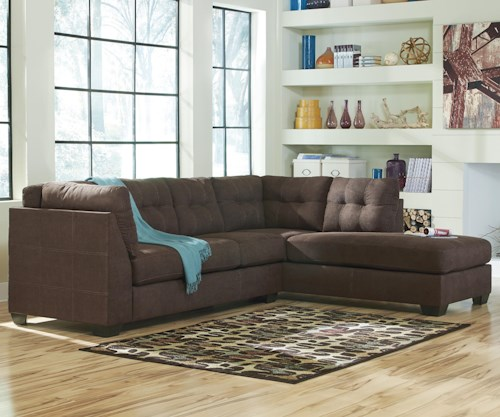 Benchcraft Maier - Walnut 2-Piece Sectional w/ Sleeper Sofa & Right Chaise