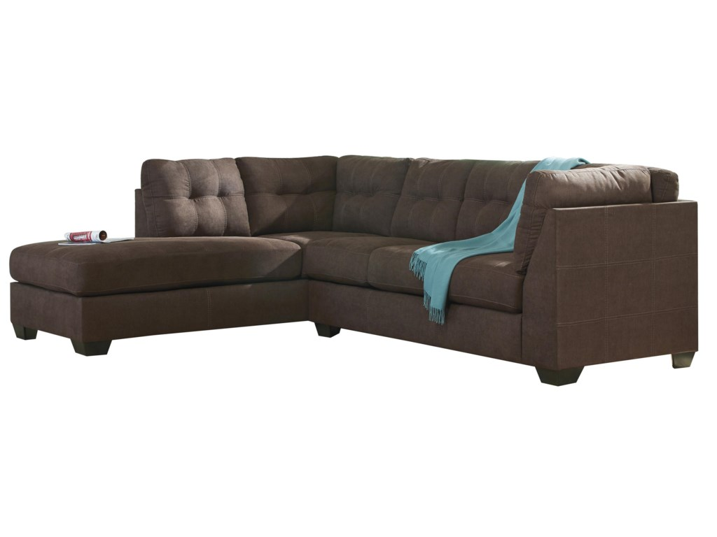 Trendz Malcolm - Walnut2-Piece Sectional with Left Chaise