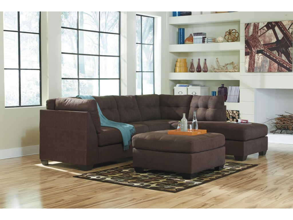 Trendz Malcolm - Walnut2-Piece Sectional with Right Chaise