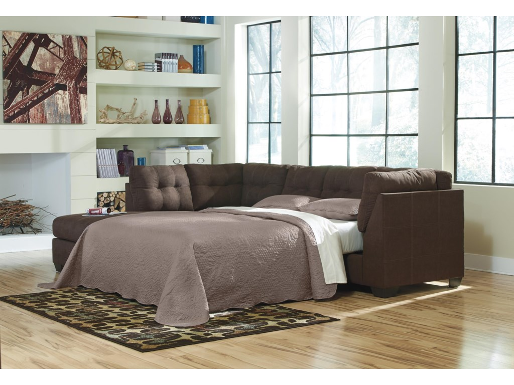 Benchcraft Maier - Walnut2 PC Sleeper Sectional and Ottoman Set