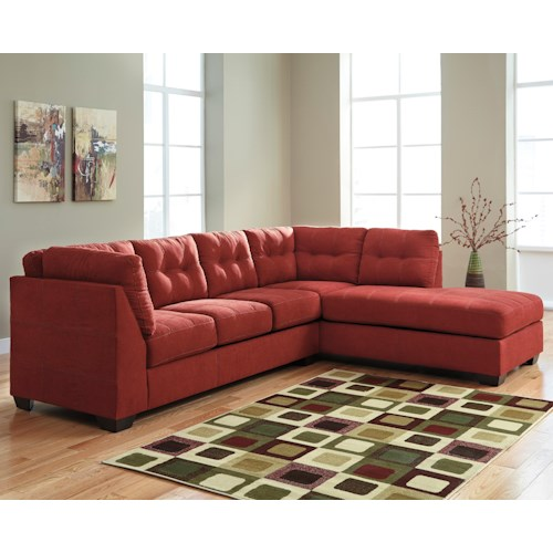Benchcraft Maier Sienna 2 Piece Sectional W Sleeper Sofa Right Chaise