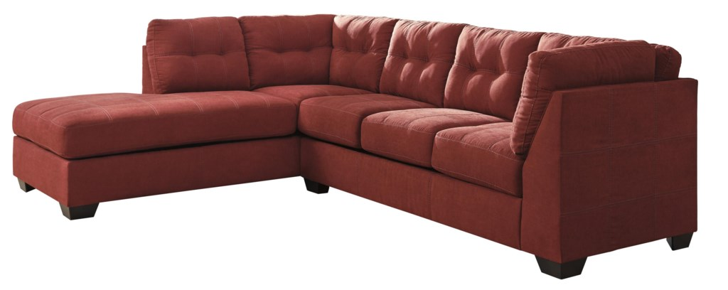 Trendz Malcolm Sienna 2 Piece Sectional With Left Chaise Ruby