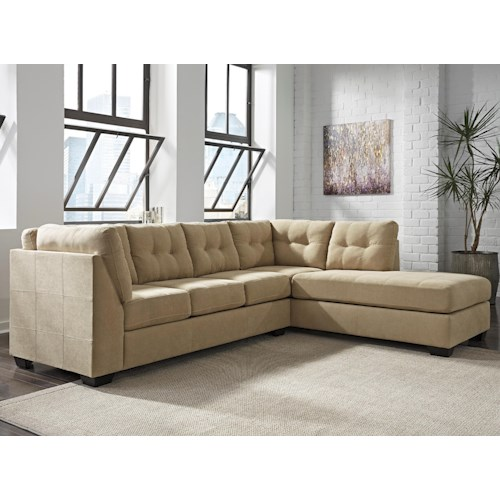 Benchcraft maier cocoa 2 piece sectional w sleeper sofa for Andrea 2 piece sleeper chaise