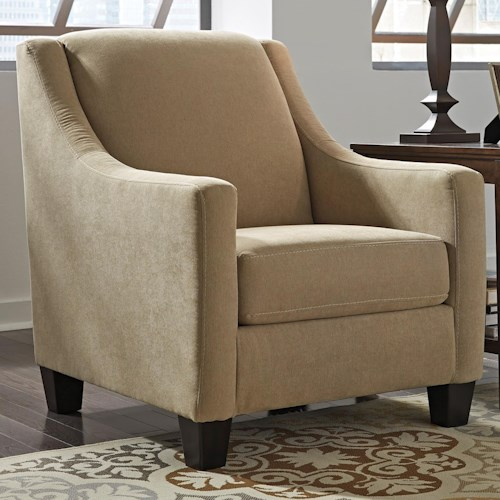 Benchcraft Maier - Cocoa Contemporary Accent Chair with Sloping Track Arms