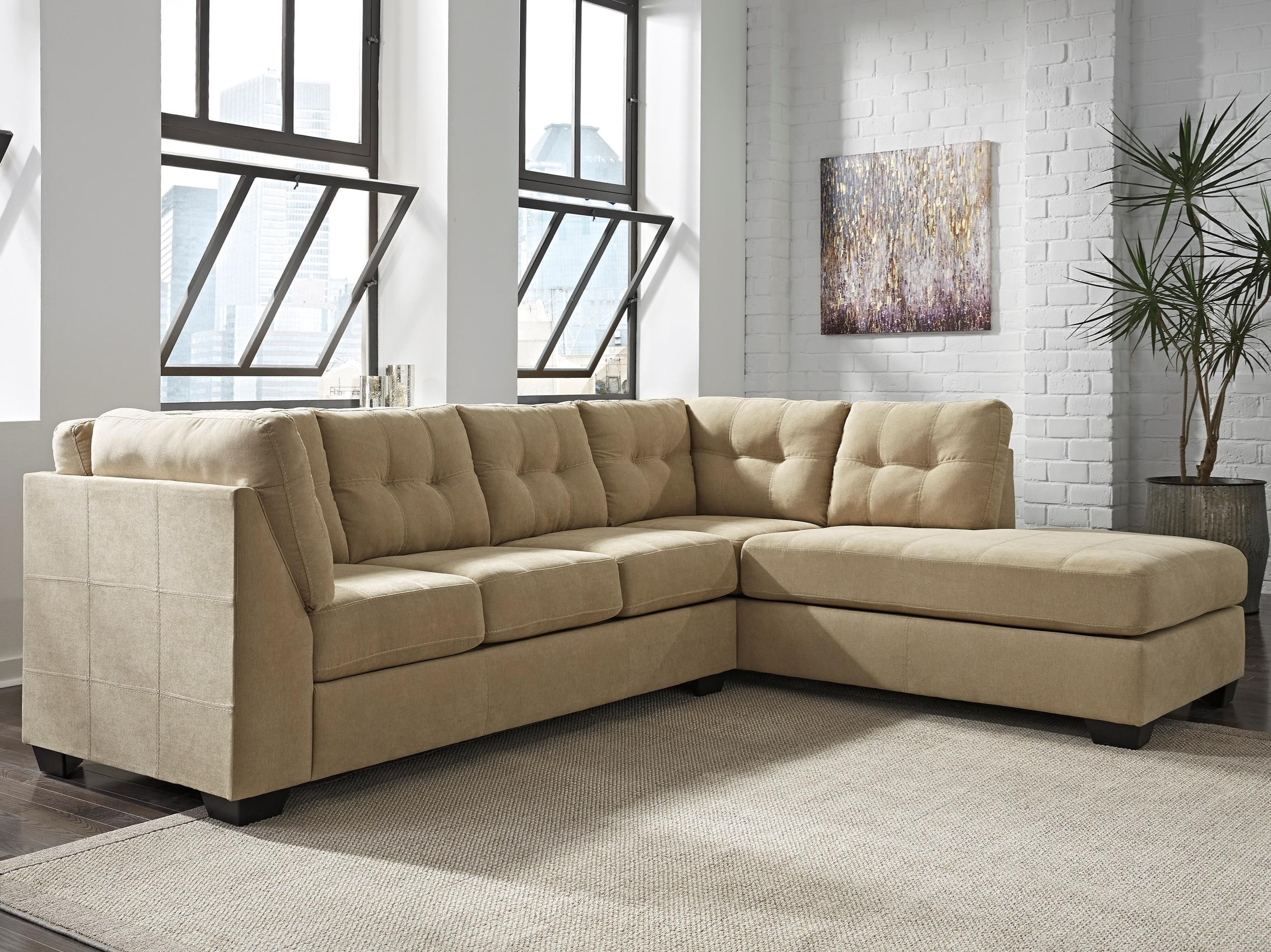 benchcraft maier cocoa 2piece sectional with right chaise