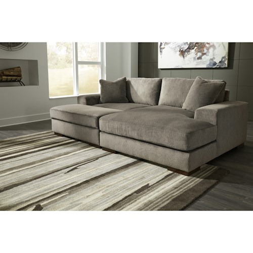Benchcraft Manzani Contemporary 3-Piece Sectional with Ottoman