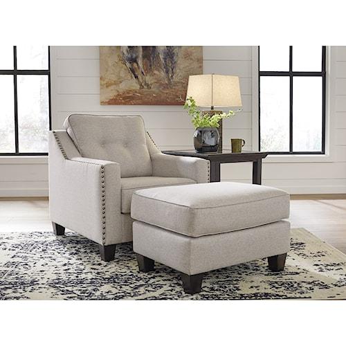 Benchcraft Marrero Contemporary Chair and Ottoman