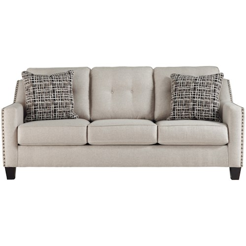 Benchcraft Marrero Contemporary Sofa with Nailhead Trim
