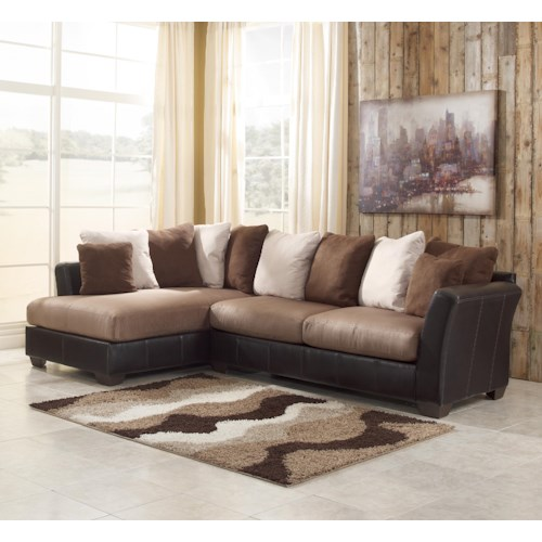 Benchcraft Masoli - Mocha 2-Piece Sectional with Left Chaise