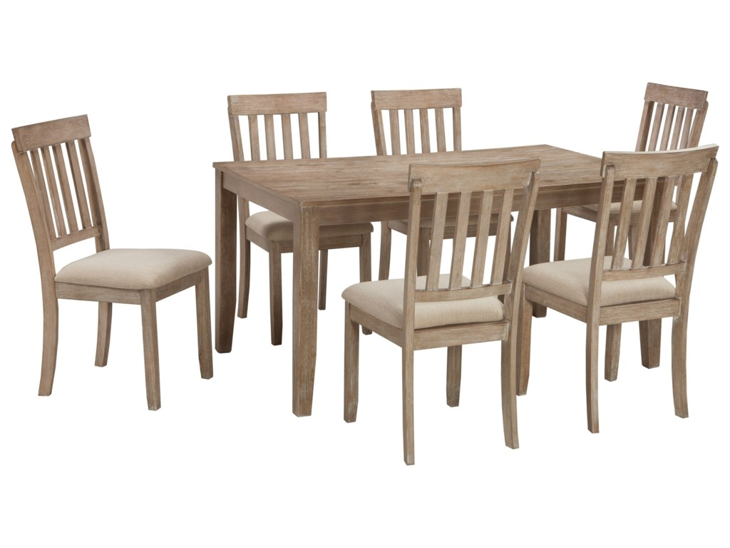 Benchcraft Mattilone D484-425 Casual Dining Room Table Set with 6 ...