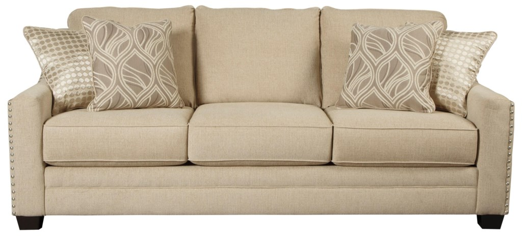 Benchcraft Mauricio Sofa With Coil Seat Cushions & Track Arms With  Nailheads - Household Furniture - Sofa