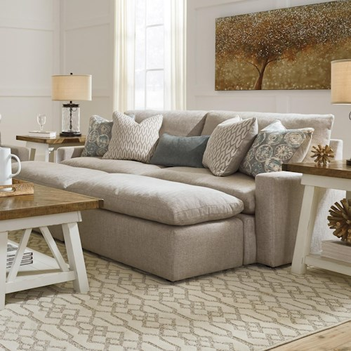 Benchcraft Melilla Pit Sectional Sofa With 2 Accent Ottomans