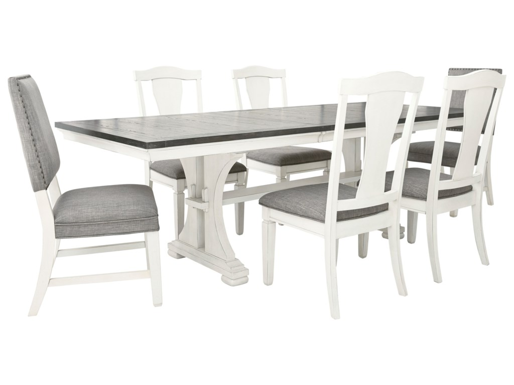 Benchcraft Nashbryn Transitional 7 Piece Dining Set With Distressed Whitewash Finish Superstore Dining 7 Or More Piece Sets