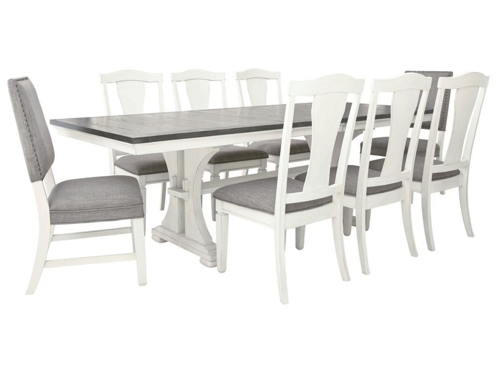 Benchcraft Nashbryn Transitional 9 Piece Dining Set With Upholstered Chairs Wayside Furniture Dining 7 Or More Piece Sets