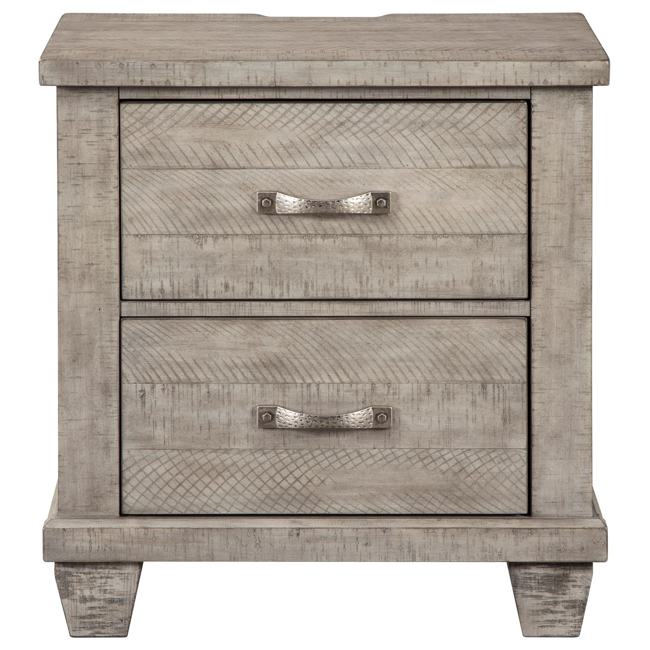 Benchcraft By Ashley Naydell Rustic 2 Drawer Nightstand In Gray Finish Royal Furniture Nightstands
