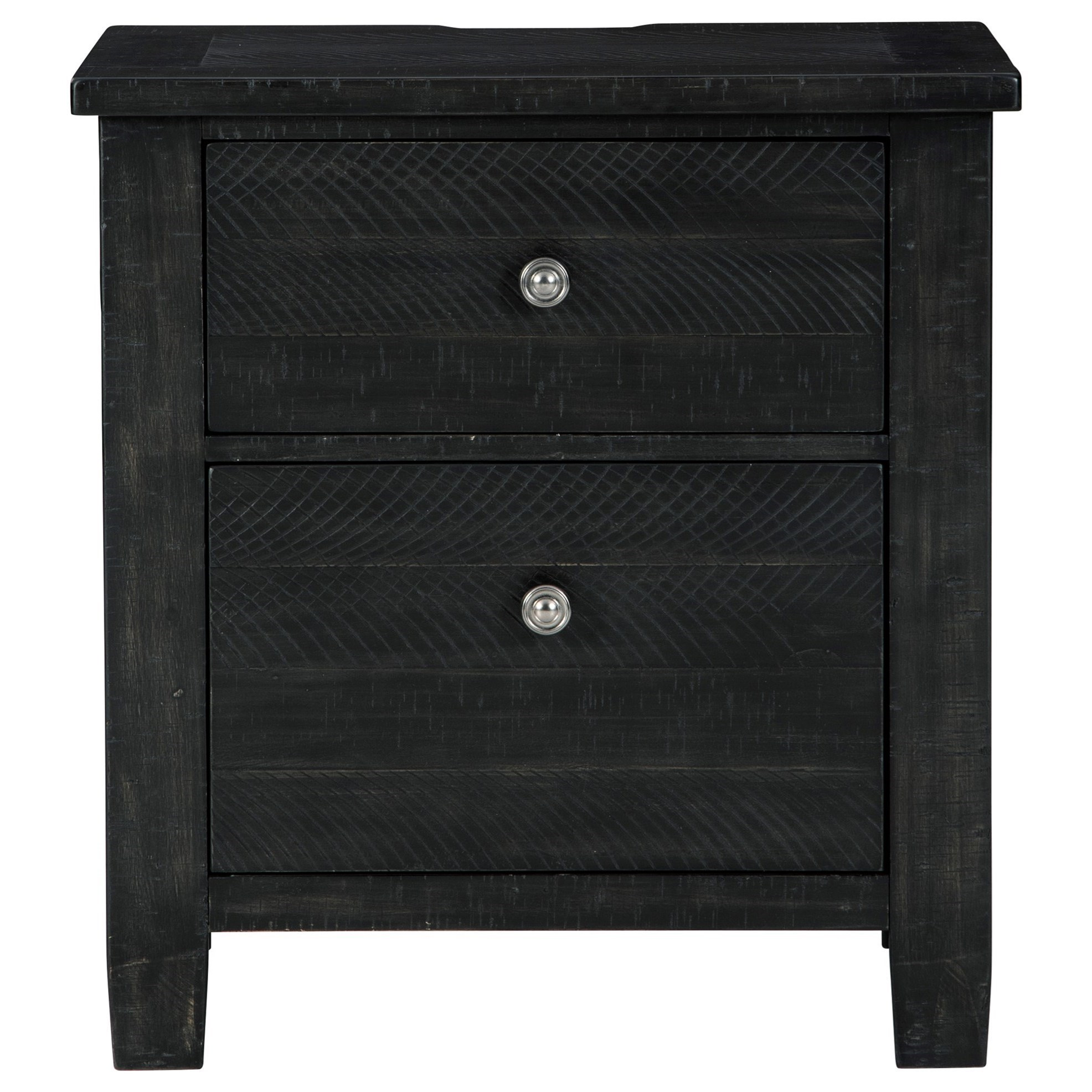 Rustic 2-Drawer Nightstand in Black Finish with Outlets and USB Charging