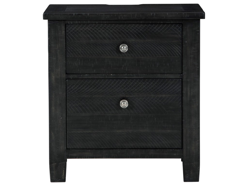 Benchcraft By Ashley Noorbrook Rustic 2 Drawer Nightstand In Black Finish With Outlets And Usb Charging Royal Furniture Nightstands