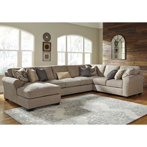 Benchcraft Pantomine 4-Piece Sectional w/ Left Chaise & Armless Sofa