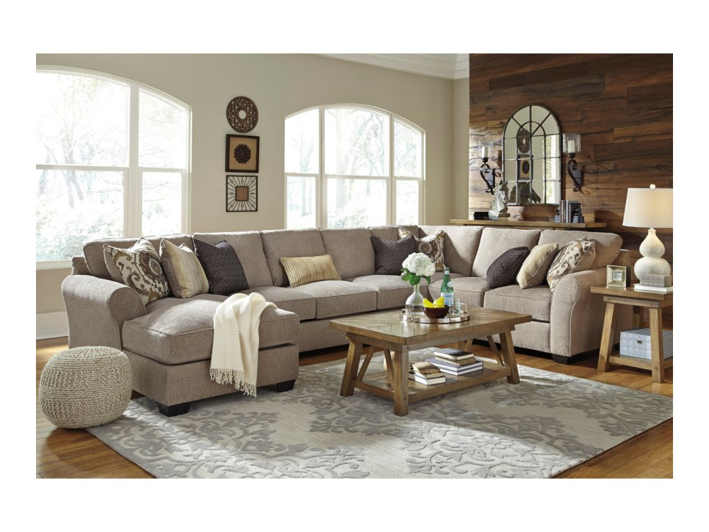 Benchcraft Pantomine4-Piece Sectional w/ Chaise & Armless Sofa
