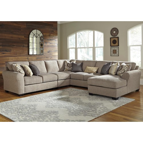 Benchcraft pantomine 5 piece sectional with right chaise for 5 piece sectional sofa with chaise
