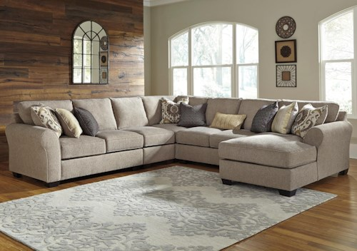 Benchcraft Pantomine 5-Piece Sectional with Right Chaise