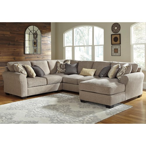 Benchcraft pantomine 4 piece sectional with right chaise for 4 piece living room furniture