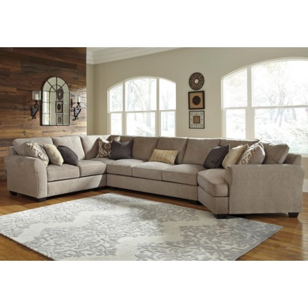 4-Piece Sectional w/ Cuddler & Arrnless Sofa