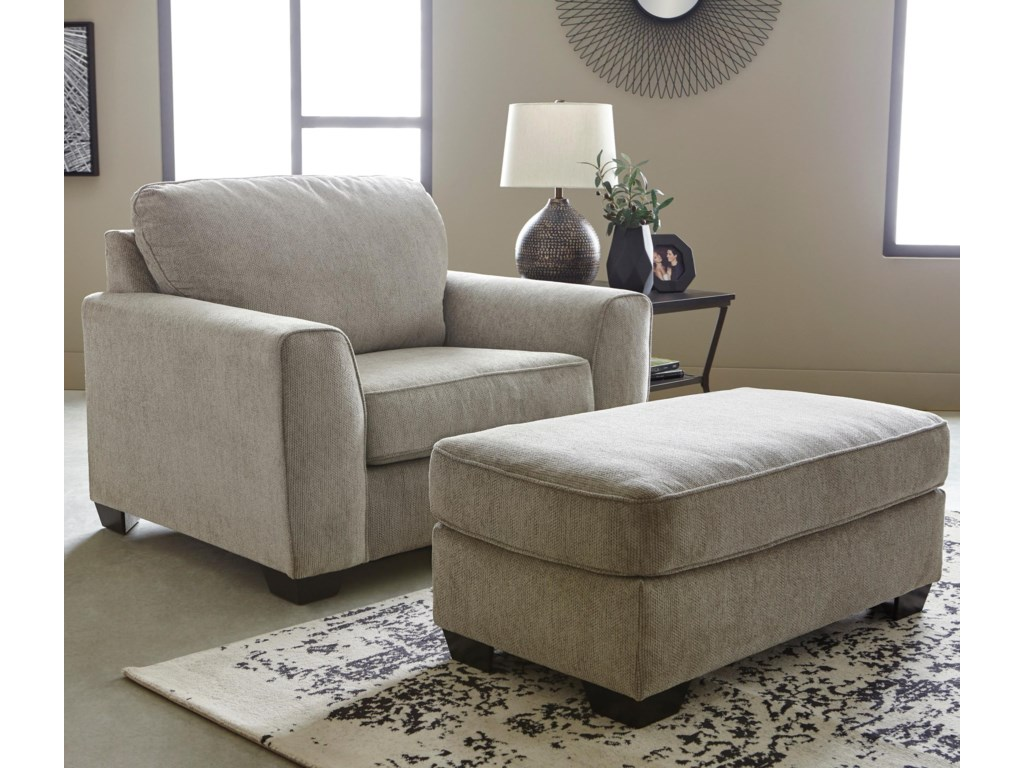 Benchcraft Parlston Contemporary Chair and 1/2 & Ottoman Set | Dunk ...