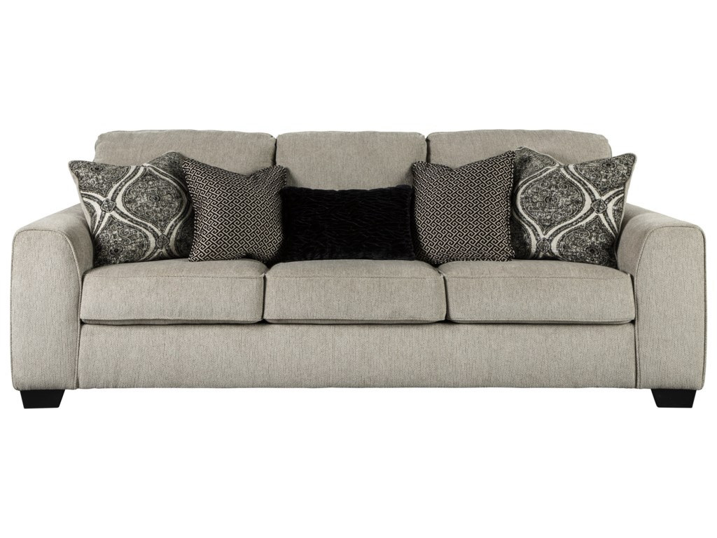 Posha Contemporary Sofa with Five Toss Pillows by Benchcraft at Walker\'s  Furniture