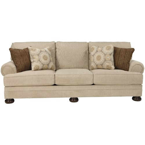 Benchcraft Quarry Hill Sofa with Rolled Arms and Bun Feet